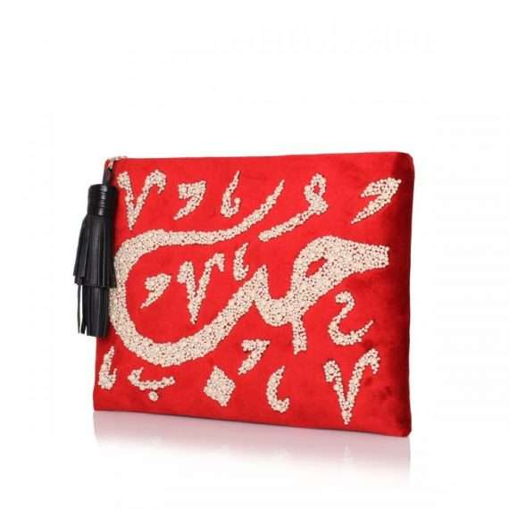 HOBB LOULOU RED VELVET POUCH SIDE