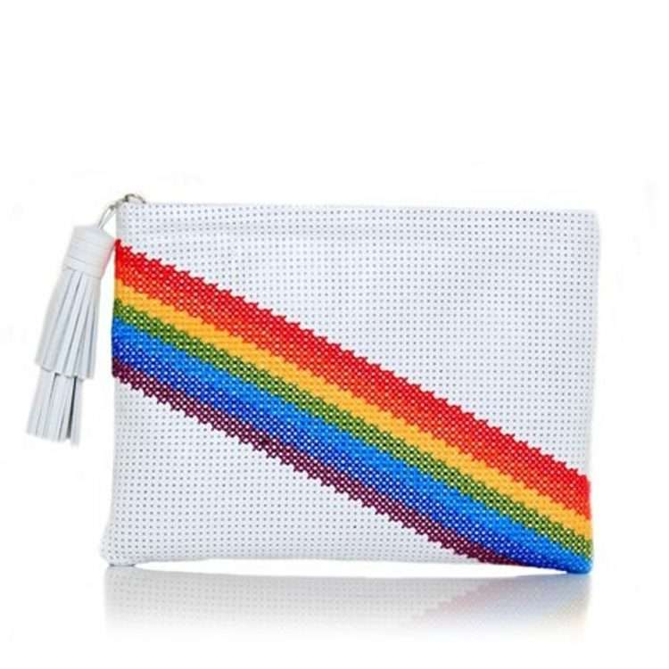 PIXEL RAINBOW WHITE POUCH FRONT