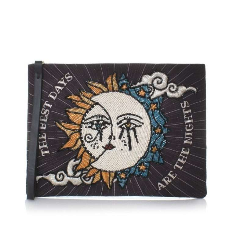 SUN TO MOON BLACK POUCH FRONT