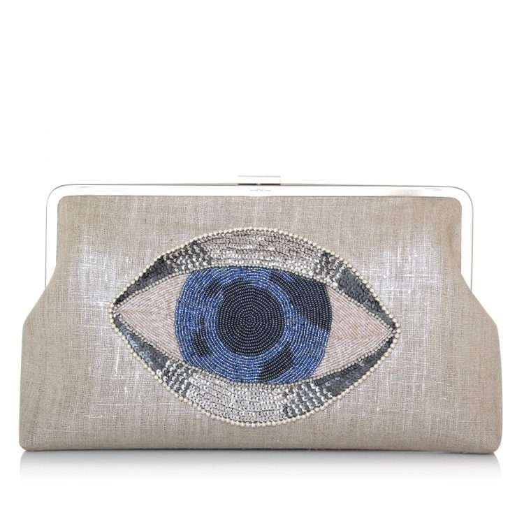 eye on you clutch me bags silver clutch me day handwork essentials front