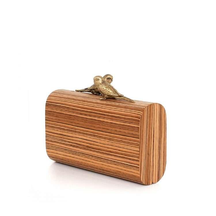 birds log lovers bags neutrals straw/wood evening novelty afrodisiac bridal side