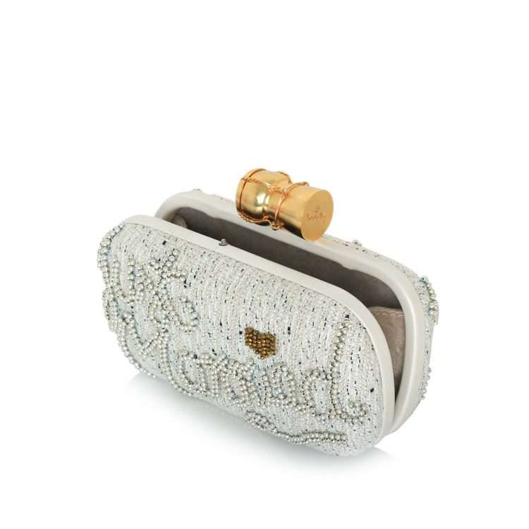 champagne just married box bags gold white box evening handwork bridal open