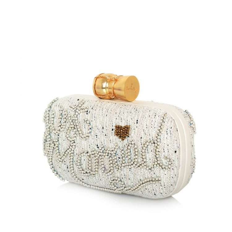 champagne just married box bags gold white box evening handwork bridal side