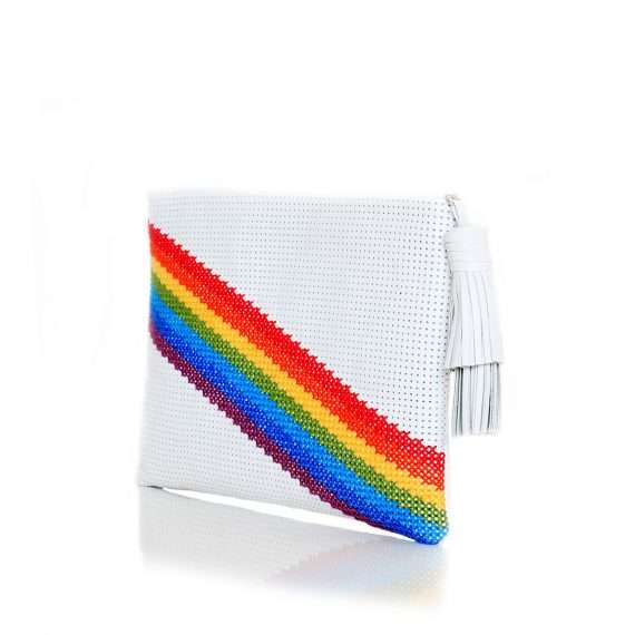 pixel rainbow white pouch bags multicolor white pouch day handwork discotheque side