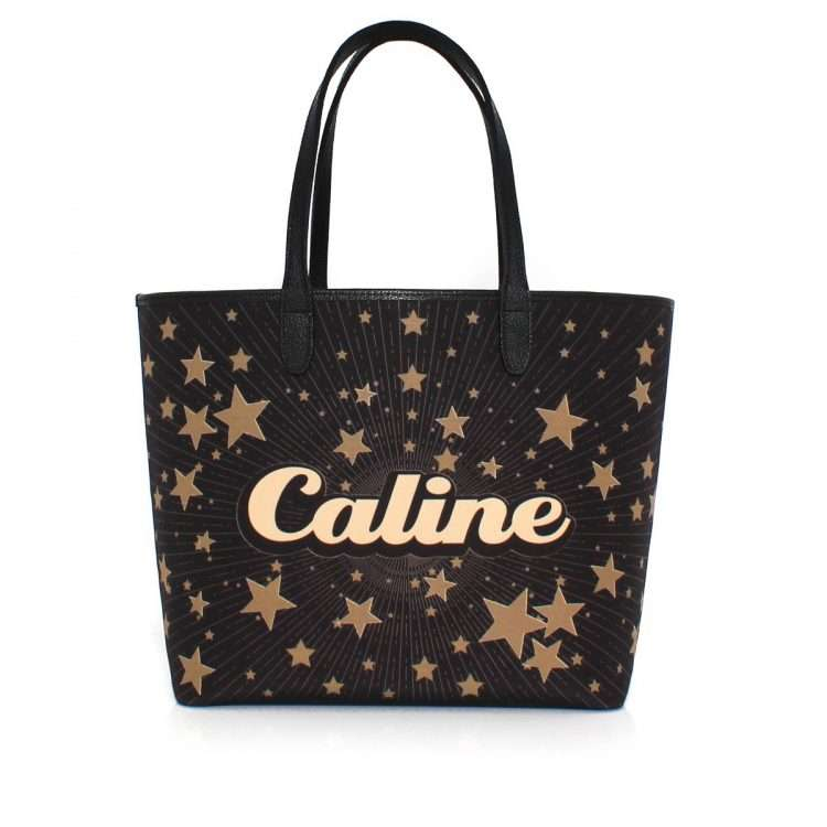 say my name stars caba bags black gold metallic caba day customized front