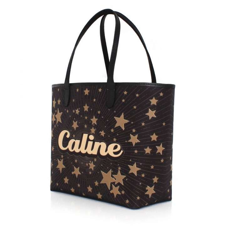 say my name stars caba bags black gold metallic caba day customized side