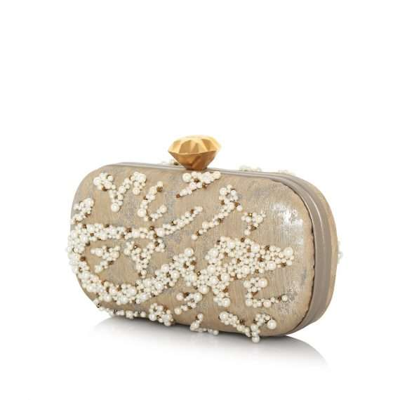 diamond pearl hobb box bags gold box evening handwork bridal side