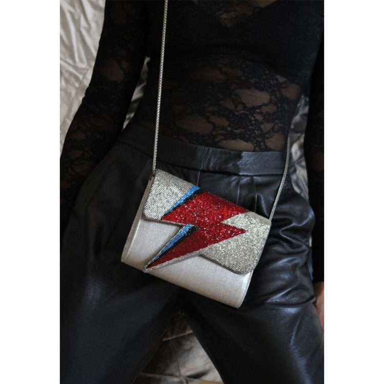 bowie red on silver bags red silver evening handwork discotheque