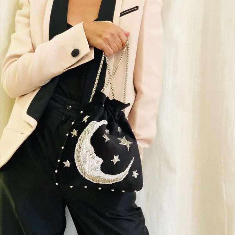 moon night bags black night evening handwork love inked