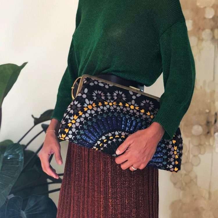 zellige sapphire clutch me bags blue clutch me day handwork oriental