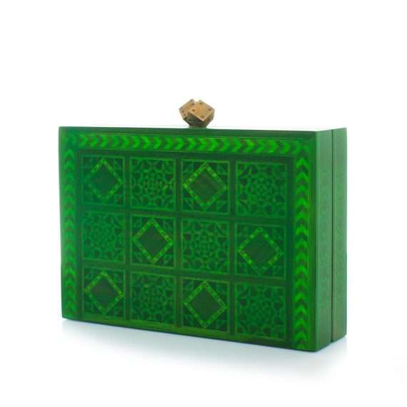 dama green bags green evening handwork oriental side