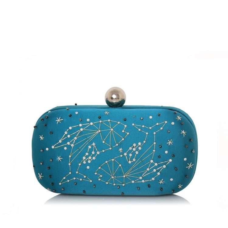 aqua box bags black blue pink red night evening handwork astrolove back