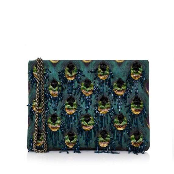 PEACOCK MINI POUCH FRONT