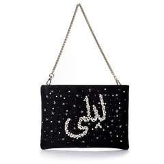CUSTOMISED SATIN MINI POUCH FRONT CHAIN (BLACK)