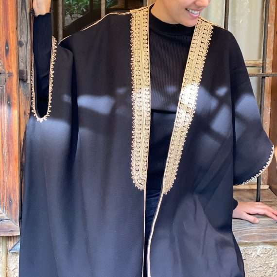 Jog Abaya gold on Black Close up