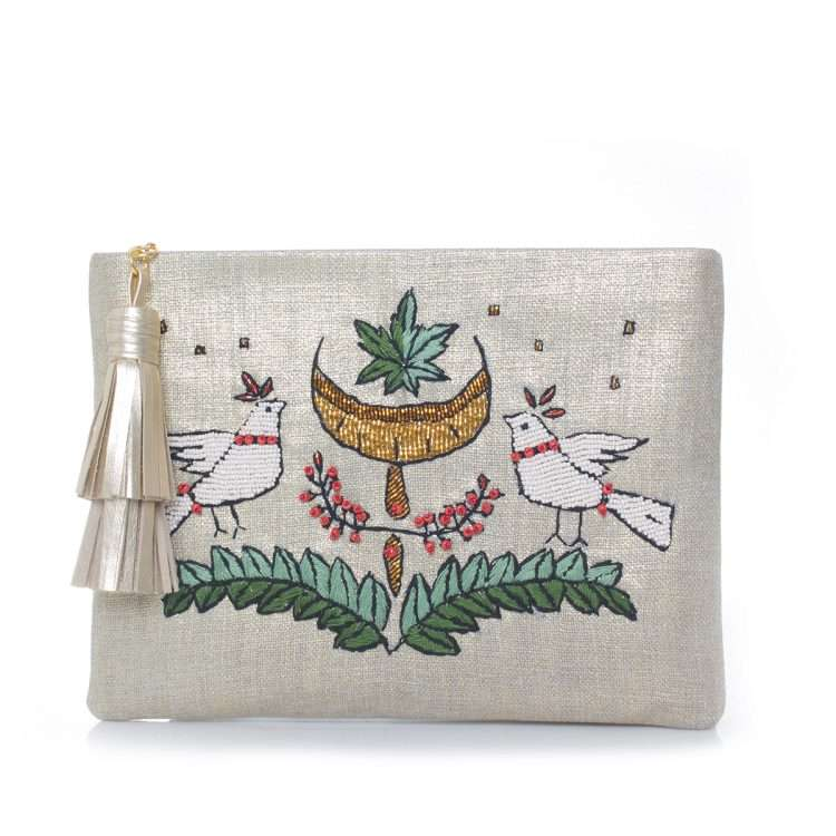 birds gold pouch front
