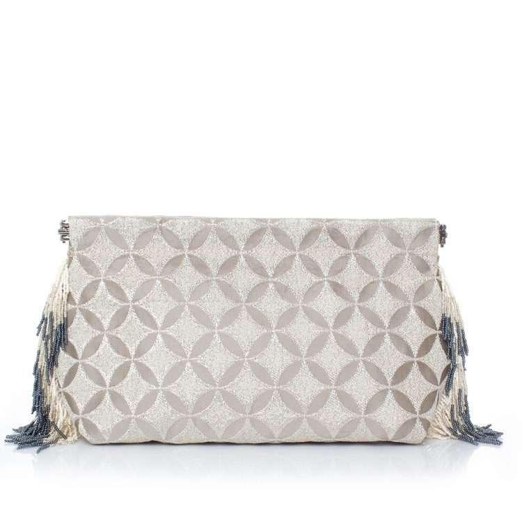 geometric silver clip bag front