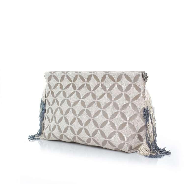 geometric silver clip bag side