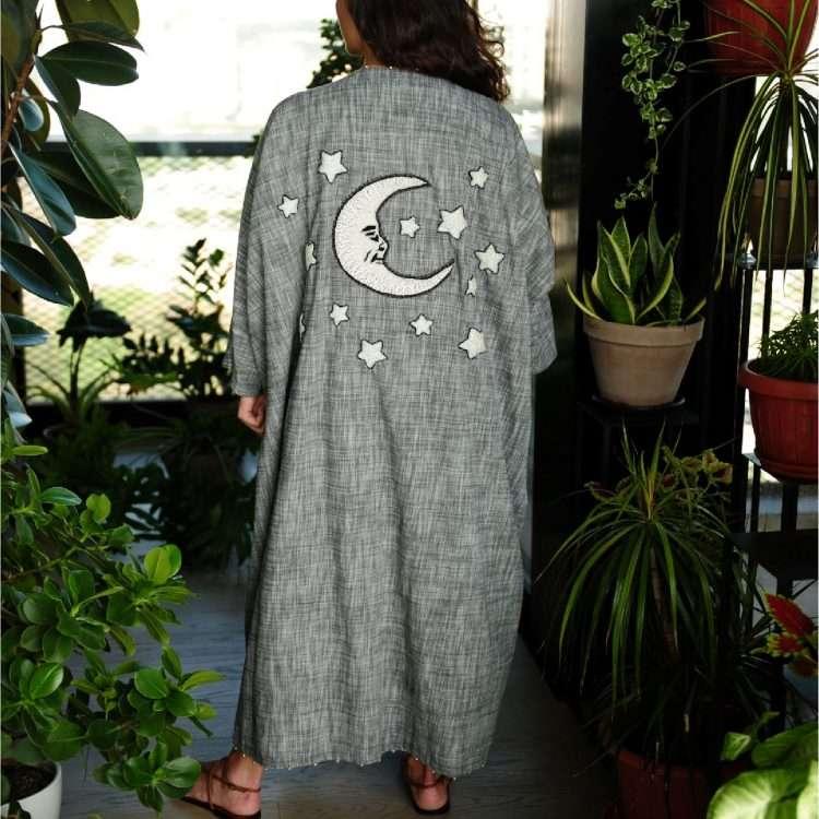 Moon Loulou on Grey nouf abaya back