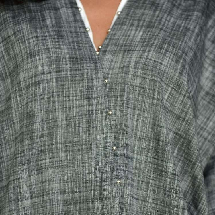 Moon Loulou on Grey nouf abaya front close up