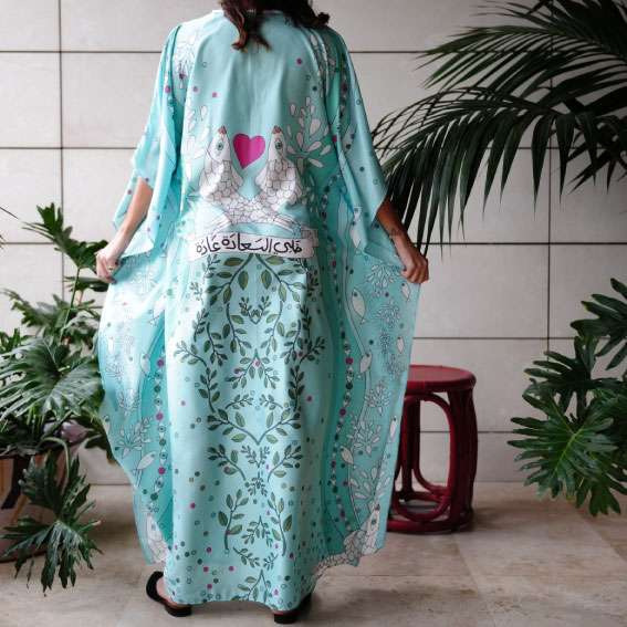 happiness aqua silk kaftan back