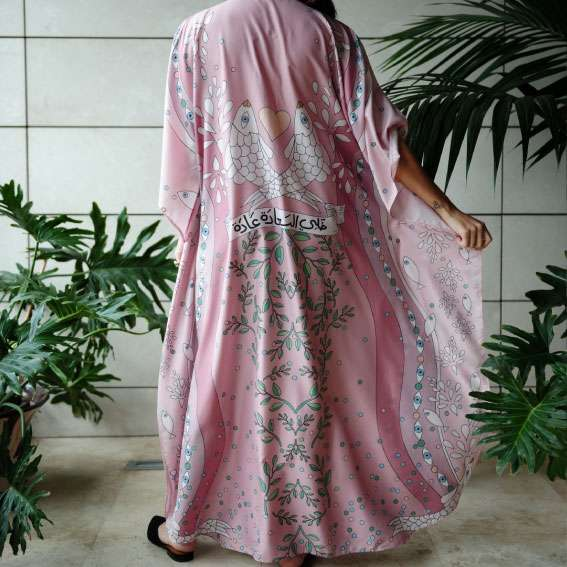 happiness powder pink kaftan back