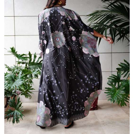 love-dealer black silk kaftan back