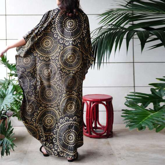 zellige gold on black silk kaftan back