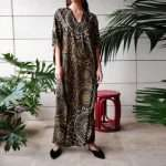 zellige gold on black silk kaftan front