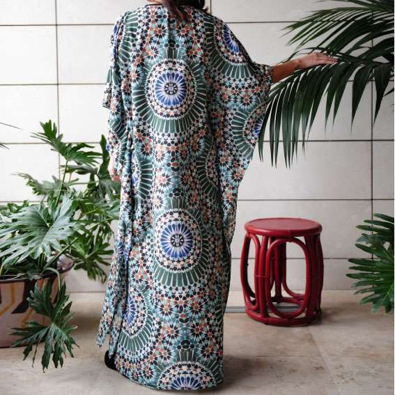 zellige green silk kaftan back